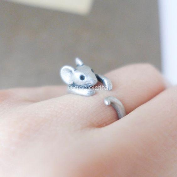 anneau souris anneau souris animal anneau bague en argent antique antique bague