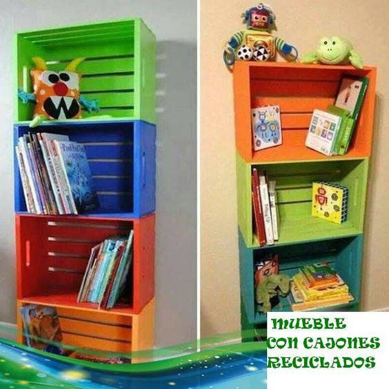 Mueble para ni os con cajones reciclados cajones de for Caja de colores jardin infantil
