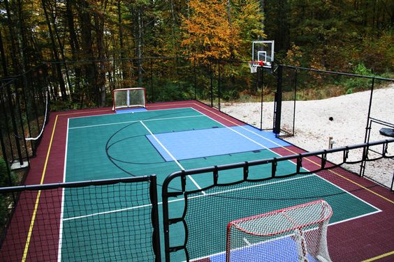 Backyards street hockey and nice on pinterest for Backyard multi sport court
