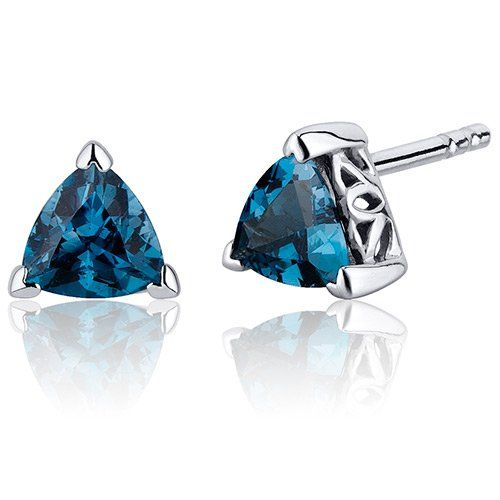 Amazon.com: 1.50 Carats London Blue Topaz Trillion Cut V Prong Stud Earrings in Sterling Silver Rhodium Nickel Finish: Peora: Jewelry
