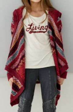 geo-patterned hooded cardigan with a logo tee
