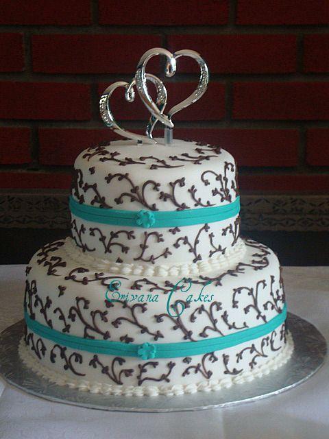 Brown Wedding Cakes Turquoise And Cake Pic 14 Decorated Pinterest Bruiloften En Bruiloft
