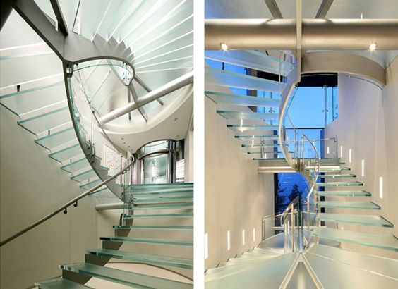 Amazing contemporary glass & metal staircase.