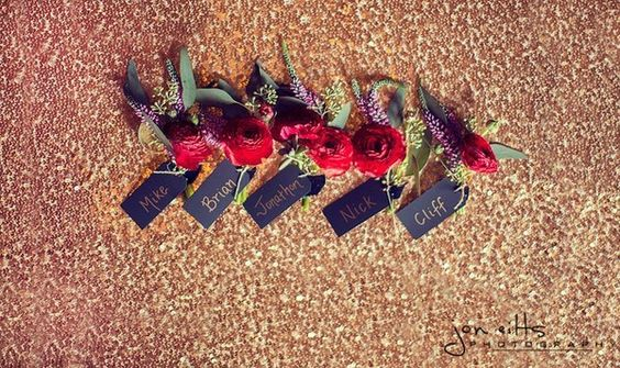 Birds of a Feather Events Photos, Wedding Planning Pictures, Texas - Dallas, Ft. Worth, ranunculus, boutonnieres, gold sequins, wedding design