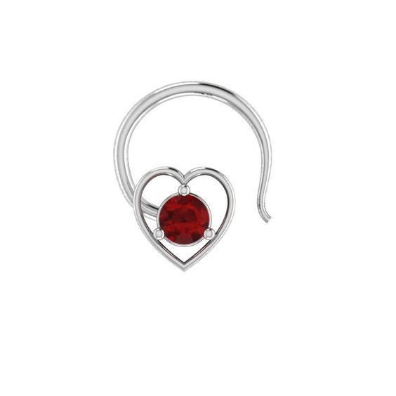 925 Sterling Heart Shape Garnet Engagement Wedding Nose Piercing Stud Pin Ring #parasexports