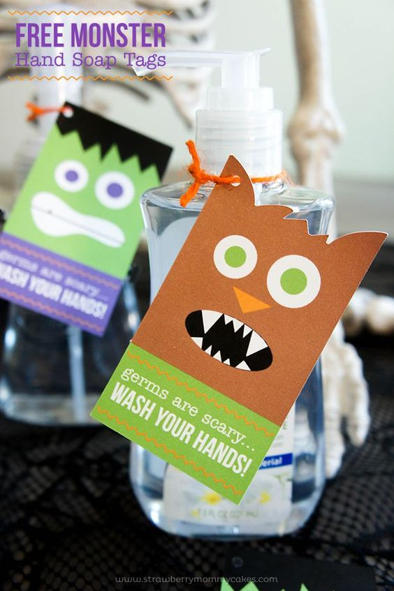 FREE Monster Hand Soap Tags for Halloween