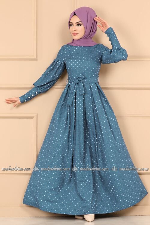 Modaselvim Elbise Puantiyeli Pileli Elbise 8962w153 Mavi Pakaian Wanita Gaya Abaya Desain Kurta