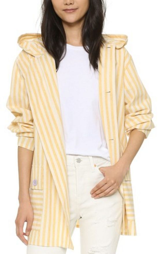 Lightweight Spring Jacket in Yellow and White Stripe
