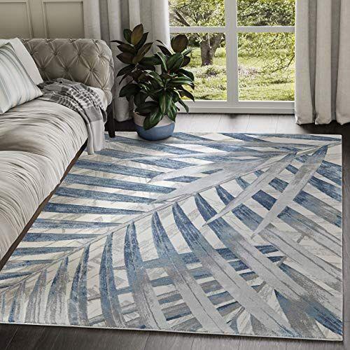 Best Seller Abani Rugs Blue Grey Beige Floral Palm Leaf Pattern