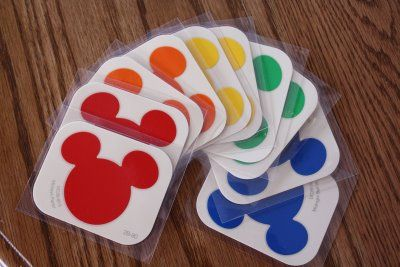 Home Depot Disney pantone chips ~ great to laminate and place on a ring to help pre-schoolers with color recognition: red;orange;yellow;blue;green;purple;pink;brown;black;white.
