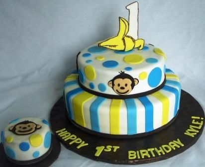 Google Image Result for http://ajsmoonlightbakery.net/blog/wp-content/uploads/2010/09/Mod-Monkey-1-Banana-Tiered-First-Birthday-Cake-with-Baby-Cake.jpg