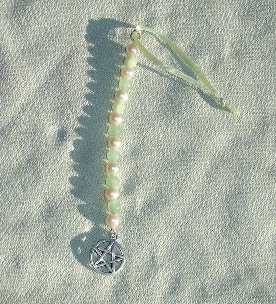 Pearl & Jade Gemstone Pentagram Icicle Ornament or Sun Catcher