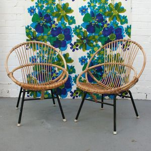 Image of Pair of Vintage Children's Cane Chairs