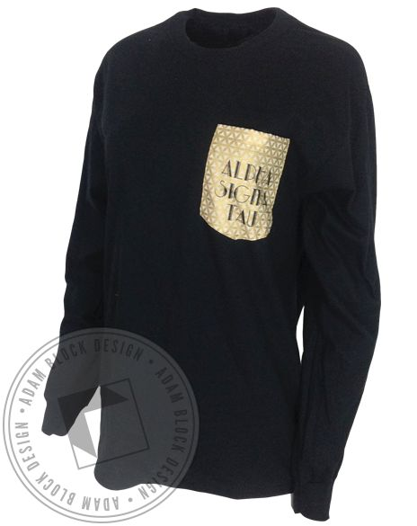 Alpha Sigma Tau Custom Foil Pocket Long Sleeve by Adam Block Design | Custom Greek Apparel & Sorority Clothes | www.adamblockdesign.com