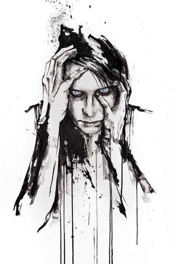 Insomnia - Ink drawing by Italian artist Silvia Pelissero also known as Agnes Cecile.