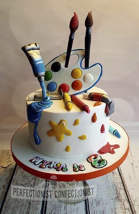 Farbtuben Fondant Geburtstag Kuchen Kunstler Malerei Palette