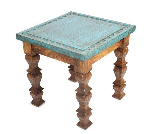 Silver Trails Western End Table-22 x 22 x 22 in-Western-Vintage Look-Rustic-Silver Conchos-Gorgeous-Cowboy by RanchoAdobe on Etsy