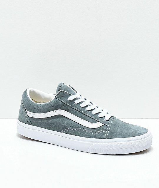 Vans Old Skool Stormy Grey & White Pig Suede Skate Shoes