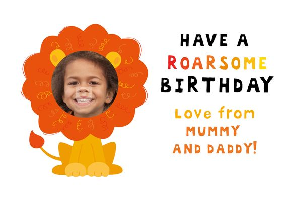 Have a Roarsome Birthday with this lion Birthday Card Add their – Face in Hole Birthday Cards
