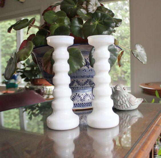 Vintage Anchor Hocking Milk Glass Column Candlesticks