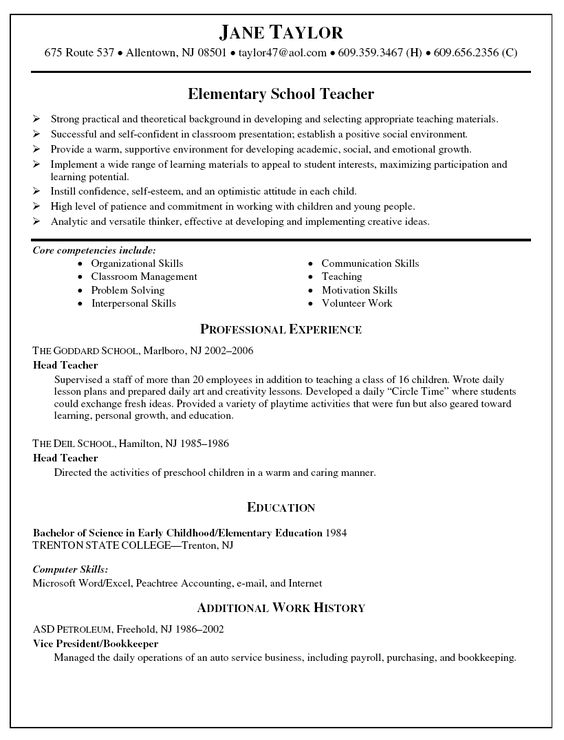 sample teacher resumes School Teacher Resume - Elementary - teacher contract template