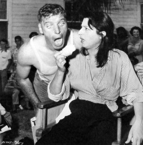 Burt Lancaster goes for Anna Magnani's ice cream during filming of The Rose Tattoo