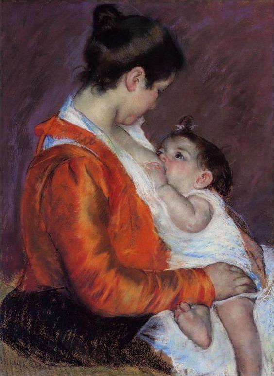 """""""Louise Nursing Her Child""""  --  1898  --  Mary Cassatt  --  American  --  Pastel on paper  --  Fondation Rau Pour le Tiers:"""