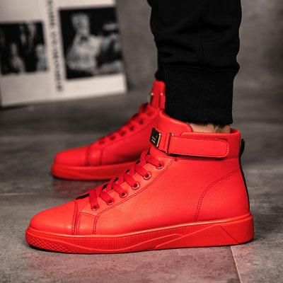 Zapatos tenis de media bota para hombre color rojo muy ...