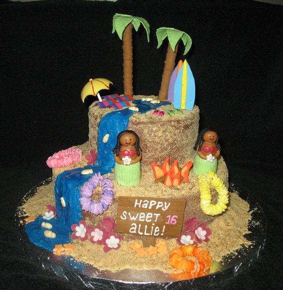 Hawaii Luau Theme For A Sweet 16 Cake Details