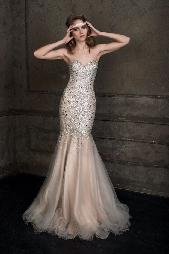 Modern Celebrity Wedding Dresses : Brunette in an wedding dress with a sparkling stones hot sexy