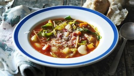 Slow cooker #minestrone: a hearty Italian soup is made with pasta and beans.