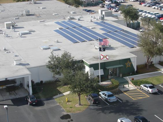Solar Electric at the Lee County Public Safety Building installed by Fafco Solar, Fort Myers, FL | http://solarsouthwestflorida.com