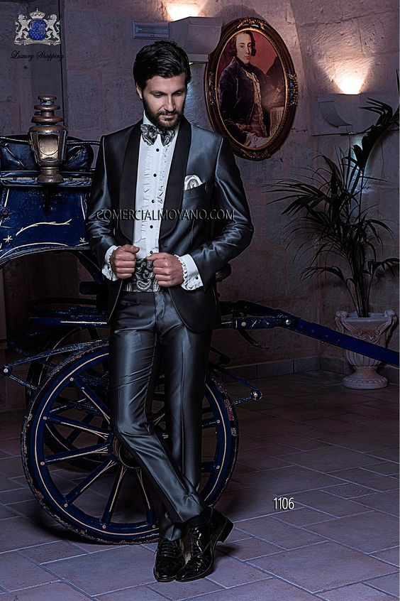 Traje de novio italiano esmoquin gris modelo 1106 Ottavio Nuccio Gala.