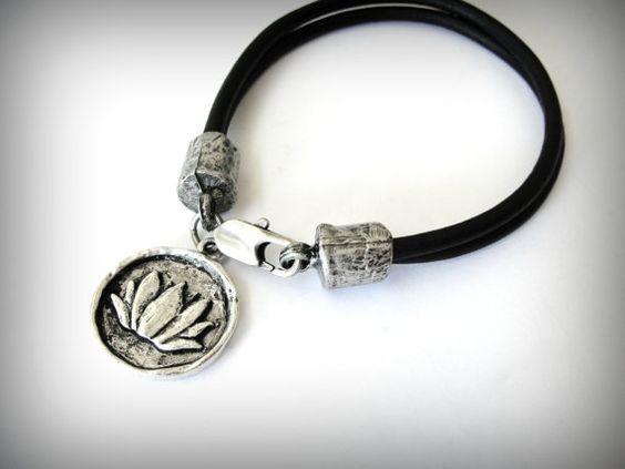 Silver Lotus bracelet on black leather bracelet yoga bracelet namaste