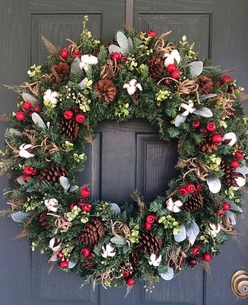 "13/"" Snow Tipped Artificial Wreath With Red Bow Christmas Decoration Garland Xmas"