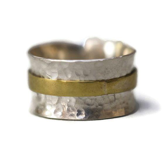 Sterling Silver Ring, Sterling Spinner Ring, Spinner Ring, Spinning Ring, Silver Rings for Women, Silver Ring Men Wide Band Ring Fidget Ring
