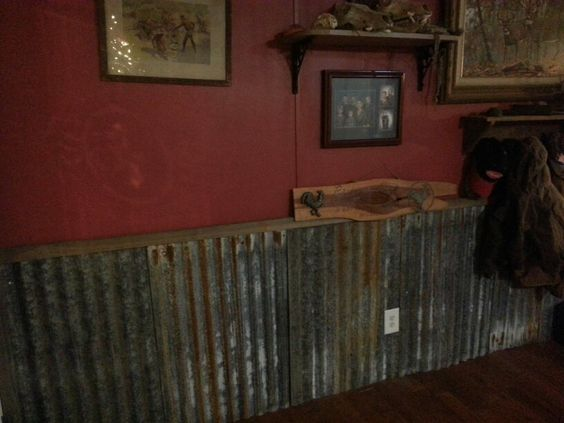 Old tin as wainscoting with deep red walls byerly for Old barn tin ideas