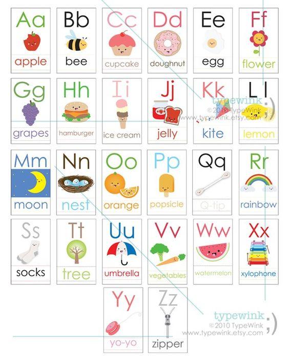 Cute Kawaii ABC alphabet Flash Cards - Printable PDF | Abc ...