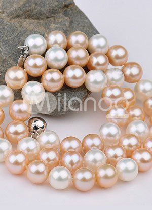 Cute White Pink Round 42cm AA Freshwater Pearl Womens Necklace