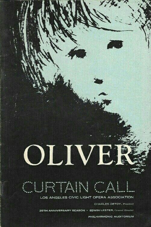 Theatre Programme For The Premiere Los Angeles Tryout Production Of The Lionel Bart Musical Oliver Which Performed Los Angeles Theatre Programme Auditorium