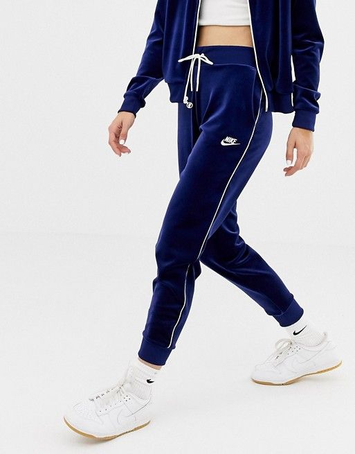 new styles buying new buying new Nike Blue Velour Zip Thru Tracksuit Bottoms in 2019 ...