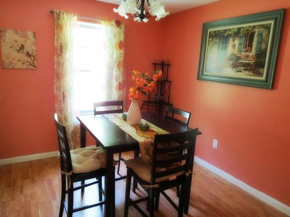 My dining room. Peach=great for spring or add some pumpkins for fall!