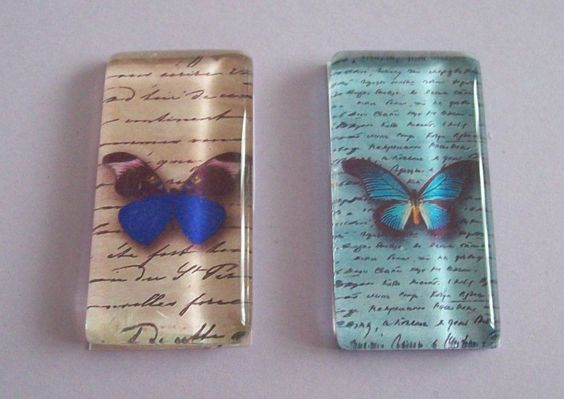2 Handmade 'Butterfly/ Calligraphy' Glass Picture Cabochons-48 x 24mm