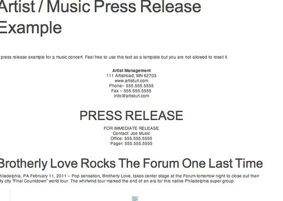 Reference for Press Kit Assignment Example of Press Release - press release template
