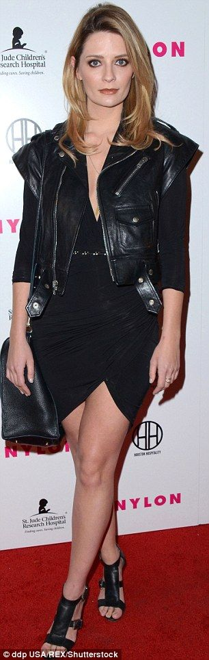 Leather jacket over cocktail dress