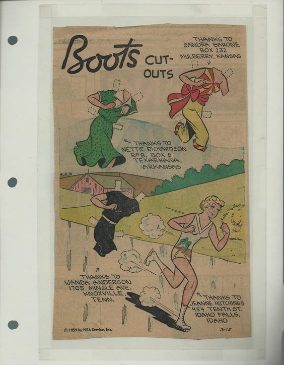 3-15-59 Boots paper doll of Pug / eBay