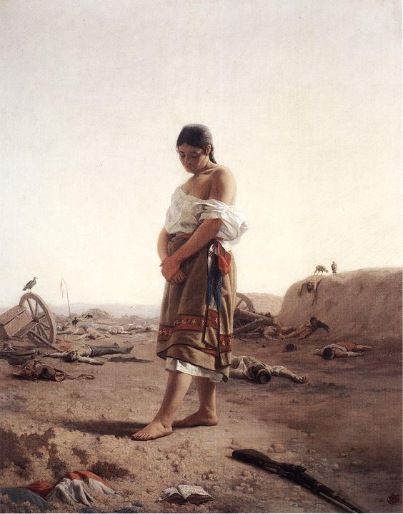 "ca1879, Juan Manuel Blanes (Montevideo, Uruguay 1830-1901): ""La Paraguaya"" (The Paraguayan Woman). Óleo sobre tela (oil on canvas) 100 x 80 cm. Museo Nacional de Artes Visuales (MNAV), Montevideo, Uruguay."