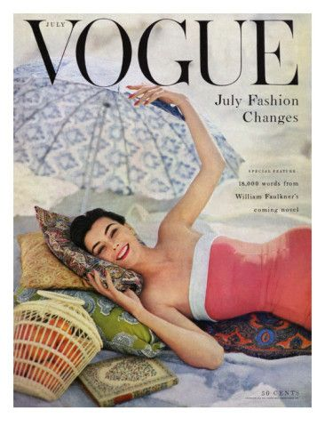 Vogue Cover - July 1954  by Karen Radkai: