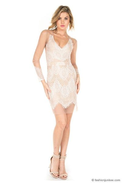 Cocktail dresses with mesh sleeves