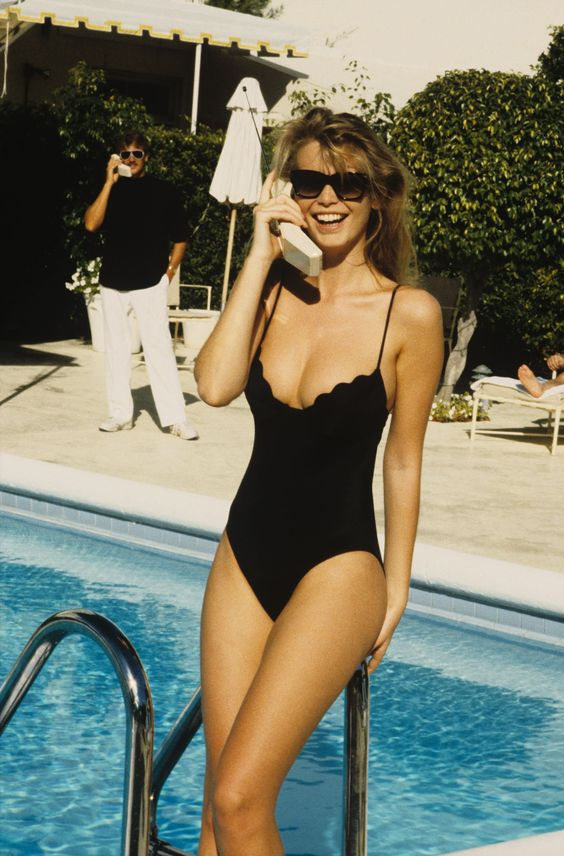 Hotline bling: Claudia Schiffer at Palm Beach's iconic Colony, which opened in 1947.